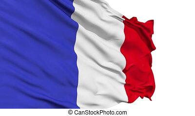 realistisch, frankrijk vlag, in de wind