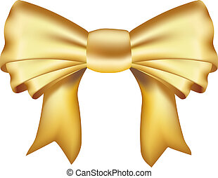 realistisch, geschenkband, goldenes