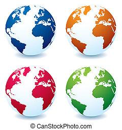 realistisch, globe, variatie, aarde