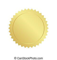 realistisch, gold, vector., siegel