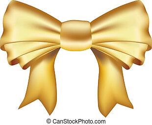realistisch, goldenes, geschenkband
