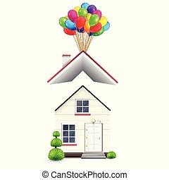 realistisch, haus, mit, farbenprächtige luftballons, vektor