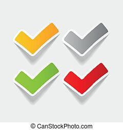 realistisch, ja, ontwerp, element:, tick