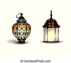 realistisch, kareem, lantaarns, ramadan, 3d