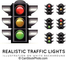 realistisch, kleur, licht, achtergrond, vector, verkeer, variations., gevarieerd, witte , stoplight