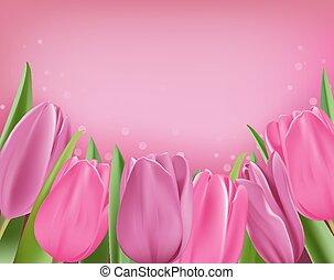 realistisch, kleurrijke, tulpen