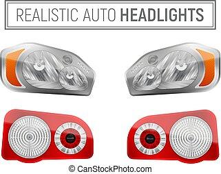 realistisch, koplampen, auto