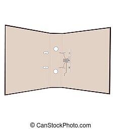 realistisch, map, open, illustratie