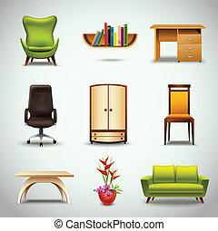 realistisch, meubel, iconen