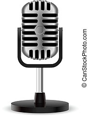 realistisch, mikrophon, retro