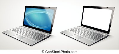 realistisch, modern, laptop, schablone