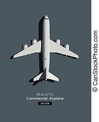 realistisch, motorflugzeug, vektor, passagier