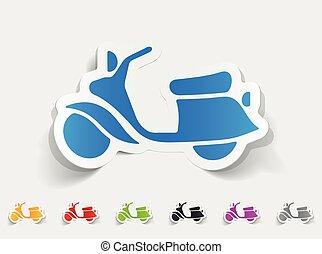 realistisch, motorroller, design, element.