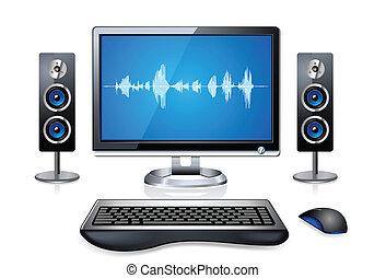 realistisch, multimedia, computer