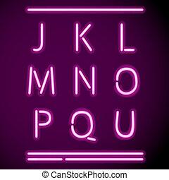 realistisch, neon, alfabet, j-u