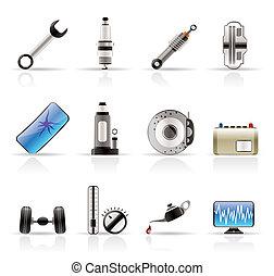 realistisch, onderdelen, auto, iconen