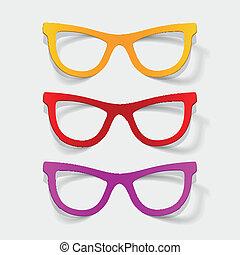 realistisch, ontwerp, element:, bril