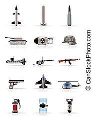 realistisch, oorlog, armen, pictogram, wapen