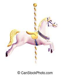 realistisch, paarde, draaimolen