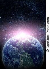 realistisch, planeet land, in, ruimte