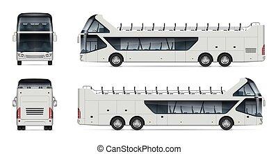 realistisch, reise, abbildung, bus