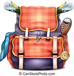 realistisch, reise, vektor, rucksack
