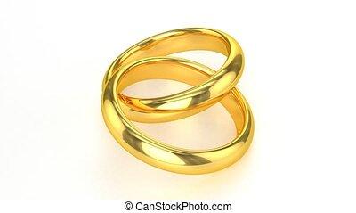realistisch, ringen, gouden, trouwfeest