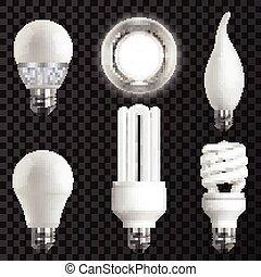 realistisch, satz, glühbirnen