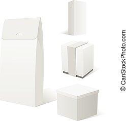 realistisch, satz, von, vier, leerer , weißes, pappschachtel, pakete