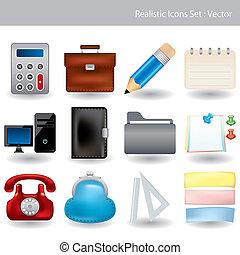 realistisch, set, iconen