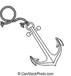 realistisch, silhouette, schiffsanker, design, mit, seil, brechen