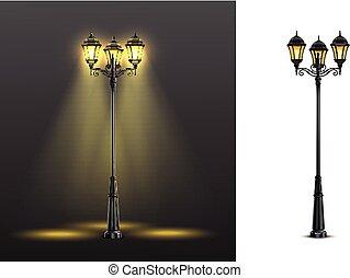 realistisch, straat, set, samenstelling, lichten