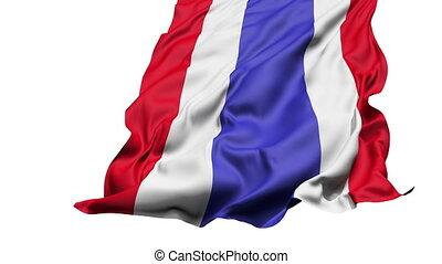realistisch, thailand vlag, in de wind