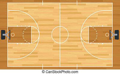 realistisch, vector, basketbal rechtbank