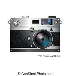 realistisch, vector, fototoestel, ouderwetse