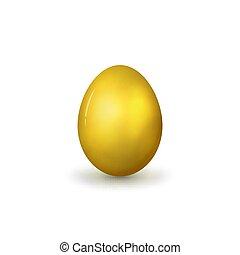 realistisch, vector, goud, egg.