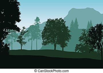 realistisch, vector, illustratie, van, berg landschap, met, bomen, onder, blauwe hemel