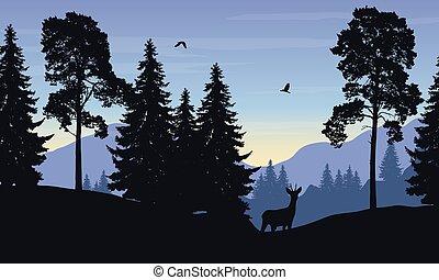 realistisch, vector, illustratie, van, berg landschap, met, bos, hertje, en, vogel