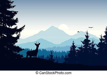 realistisch, vector, illustratie, van, berg landschap, met, bos