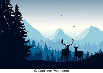 realistisch, vector, illustratie, van, berg landschap, met, hertje