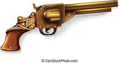 realistisch, vector, revolver
