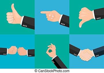 realistisch, vector, set, handen