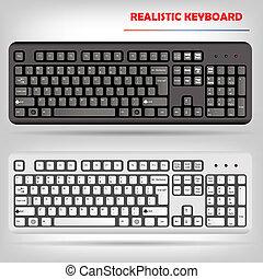 realistisch, vektor, computertastatur