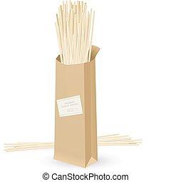 realistisch, verpakken, spaghetti