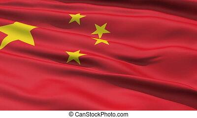 realistisch, vlag, china, wind