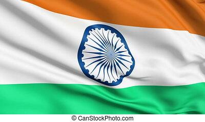 realistisch, vlag, india, wind