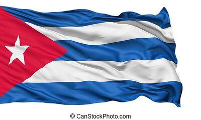 realistisch, vlag, wind, cuba