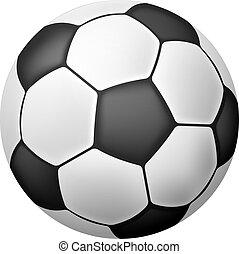realistisch, voetbal, vrijstaand, bal