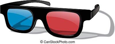 realistisch, vrijstaand, achtergrond., vector, witte , bril, 3d