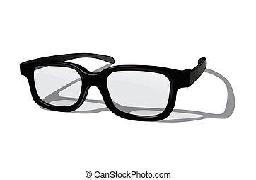 realistisch, vrijstaand, achtergrond., vector, witte , bril